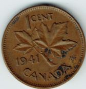 Canada, George VI, One Cent 1941, VF, WB5949